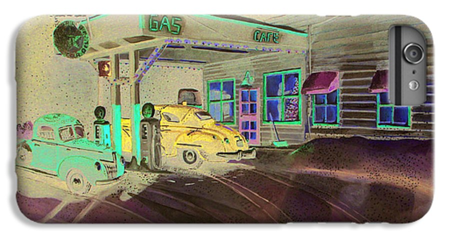 Rick Huotari IPhone 6 Plus Case featuring the painting Times Past Gas Station by Rick Huotari