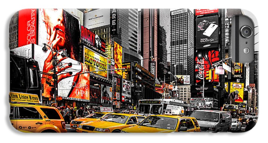 Times Square IPhone 6 Plus Case featuring the photograph Times Square Taxis by Az Jackson