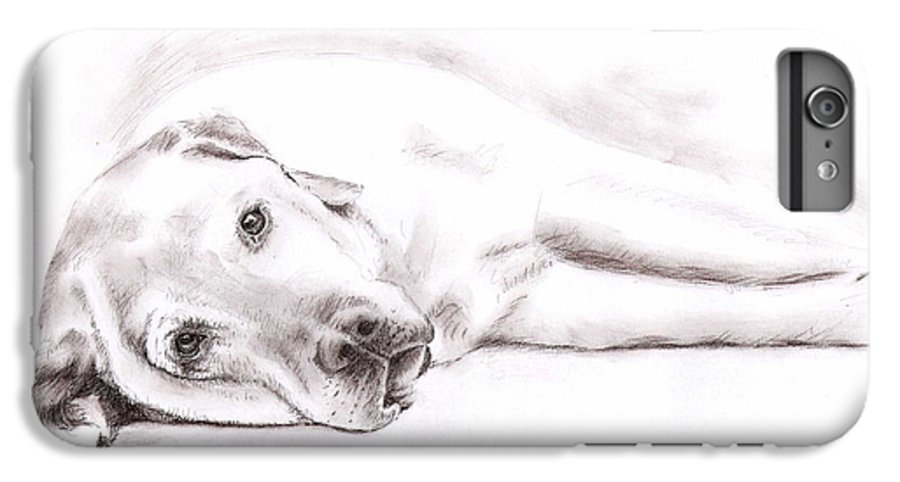 Dog IPhone 6 Plus Case featuring the drawing Tired Labrador by Nicole Zeug