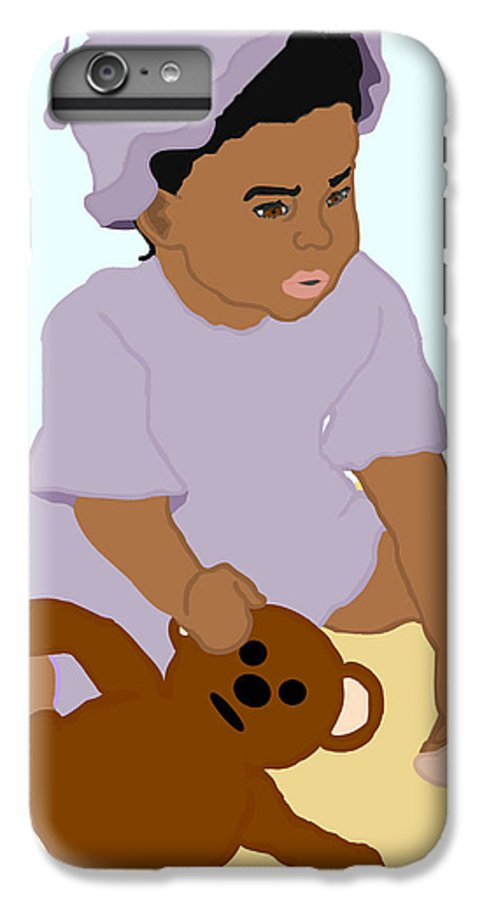 Toddler IPhone 6 Plus Case featuring the painting Toddler And Teddy by Pharris Art