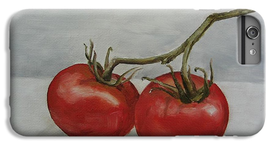 Oil IPhone 6 Plus Case featuring the painting Tomatoes On Vine by Jindra Noewi