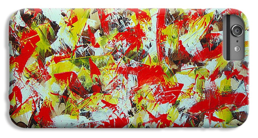 Abstract IPhone 6 Plus Case featuring the painting Transitions With Yellow Brown And Red by Dean Triolo