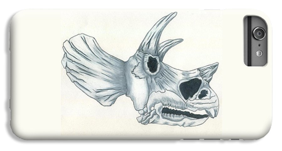 Dinosaur IPhone 6 Plus Case featuring the drawing Tricerotops Skull by Micah Guenther