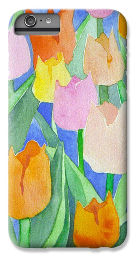 Tulips IPhone 6 Plus Case featuring the painting Tulips Multicolor by Christina Rahm Galanis