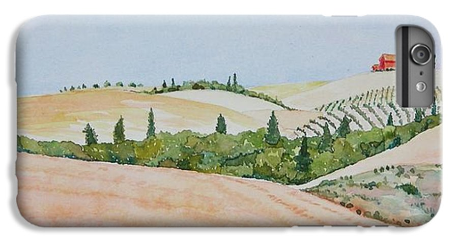 Landscape IPhone 6 Plus Case featuring the painting Tuscan Hillside One by Mary Ellen Mueller Legault