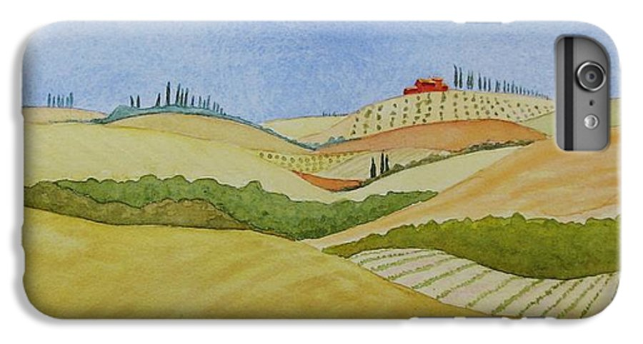 Italy IPhone 6 Plus Case featuring the painting Tuscan Hillside Two by Mary Ellen Mueller Legault