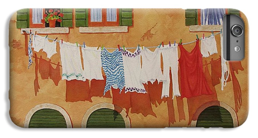 Venice IPhone 6 Plus Case featuring the painting Venetian Washday by Mary Ellen Mueller Legault