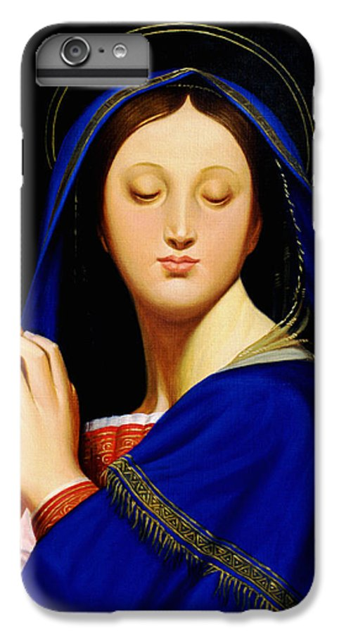 Religious IPhone 6 Plus Case featuring the painting Virgin With The Host After Ingres by Gary Hernandez