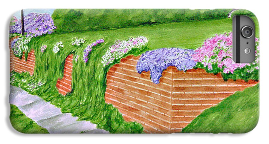 Landscape IPhone 6 Plus Case featuring the painting Wall Of Flowers by Regan J Smith