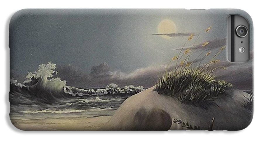 Landscape IPhone 6 Plus Case featuring the painting Waves And Moonlight by Wanda Dansereau