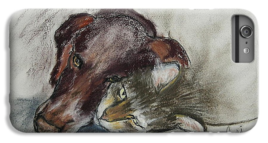 Dog IPhone 6 Plus Case featuring the drawing Whisker To Whisker by Cori Solomon