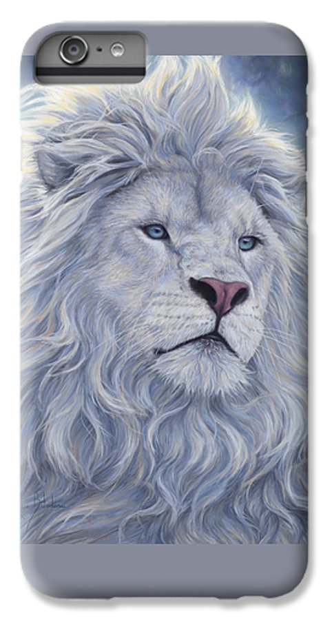 White Lion IPhone 6 Plus Case featuring the painting White Lion by Lucie Bilodeau