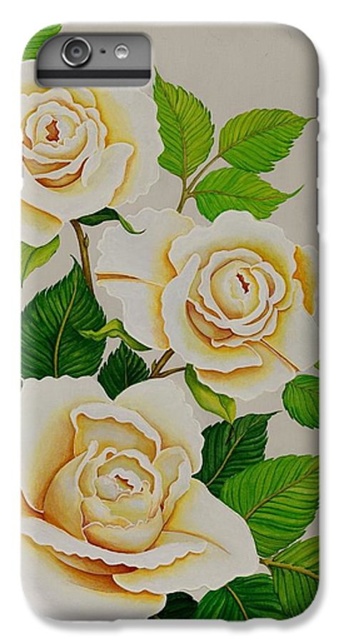 White Roses With Yellow Shading On A White Background. IPhone 6 Plus Case featuring the painting White Roses - Vertical by Carol Sabo