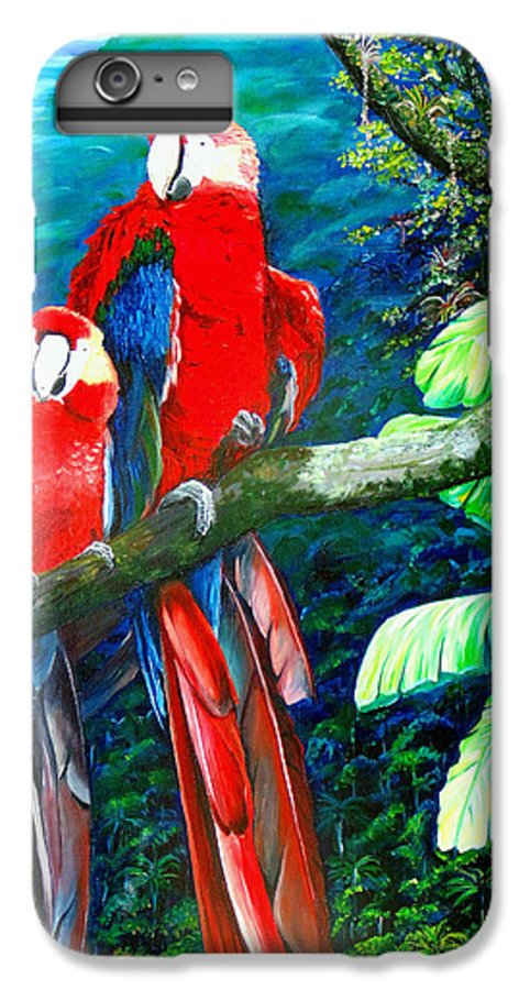 Caribbean Painting Green Wing Macaws Red Mountains Birds Trinidad And Tobago Birds Parrots Macaw Paintings Greeting Card  IPhone 6 Plus Case featuring the painting Who Me  by Karin Dawn Kelshall- Best