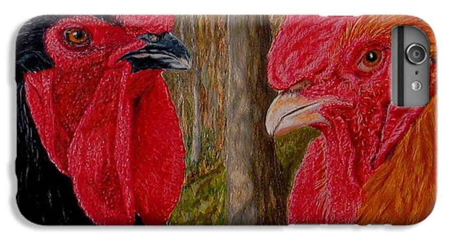 Roosters IPhone 6 Plus Case featuring the painting Who You Calling Chicken by Karen Ilari