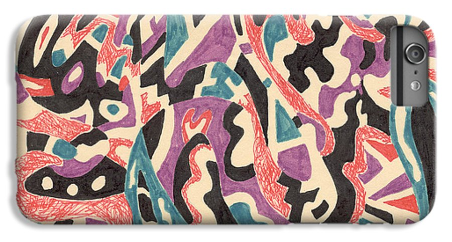 Wild Tribal Abstract Drawing Original Red Cream Black Teal Blue Purple Pattern Movement Rlmdesignes IPhone 6 Plus Case featuring the drawing Wild by Rebekah McLeod