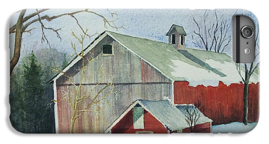New England IPhone 6 Plus Case featuring the painting Williston Barn by Mary Ellen Mueller Legault