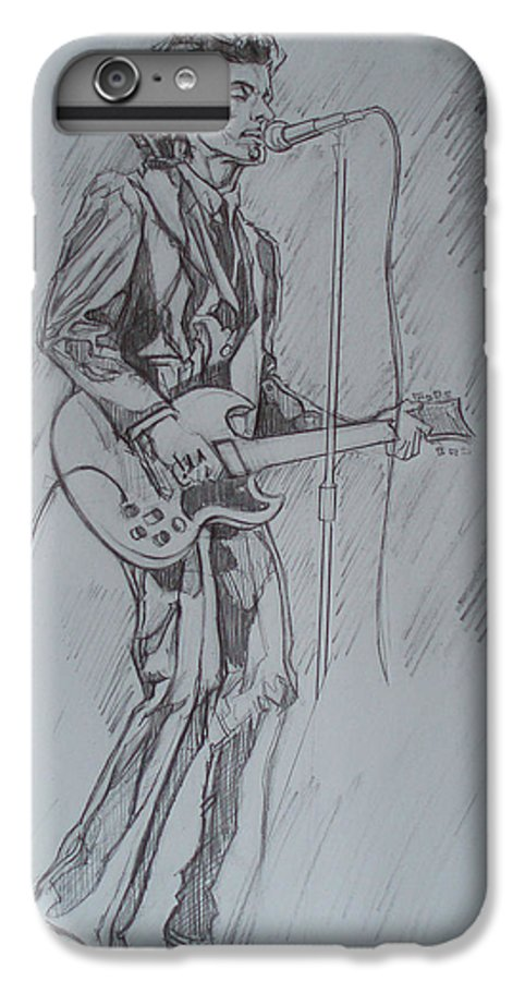 Pencil IPhone 6 Plus Case featuring the drawing Mink Deville - Steady Drivin' Man by Sean Connolly