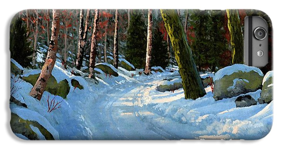 Landscape IPhone 6 Plus Case featuring the painting Winter Road by Frank Wilson