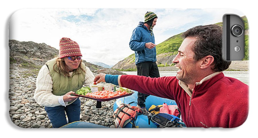 Healthy Eating IPhone 6 Plus Case featuring the photograph Woman Serving Appetizers, Alsek River by Josh Miller