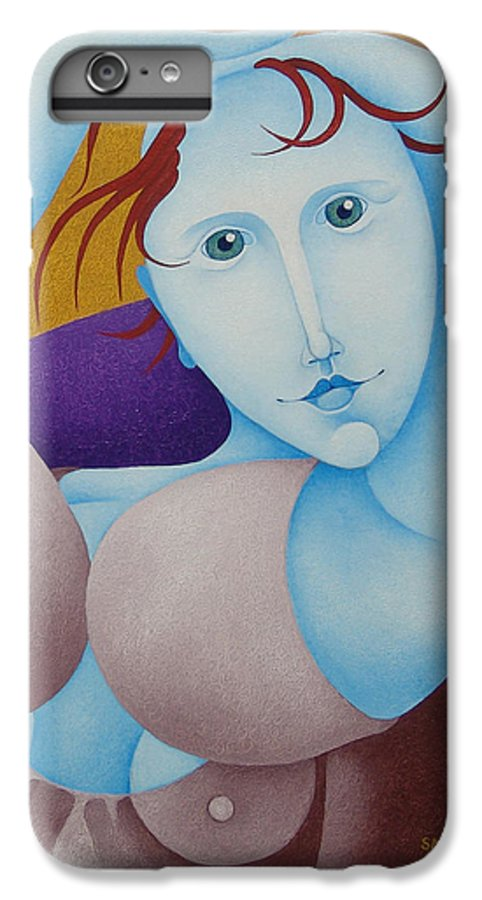 Sacha IPhone 6 Plus Case featuring the painting Woman With Raised Arms 2006 by S A C H A - Circulism Technique