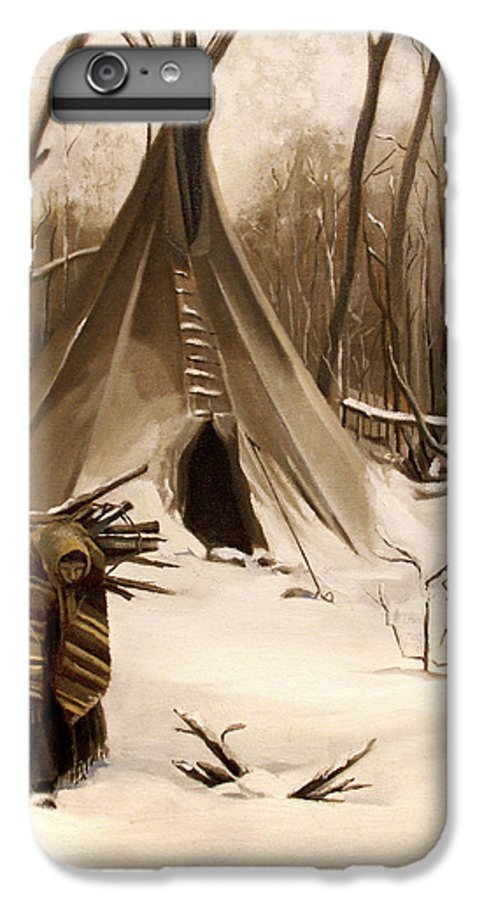 Native American IPhone 6 Plus Case featuring the painting Wood Gatherer by Nancy Griswold