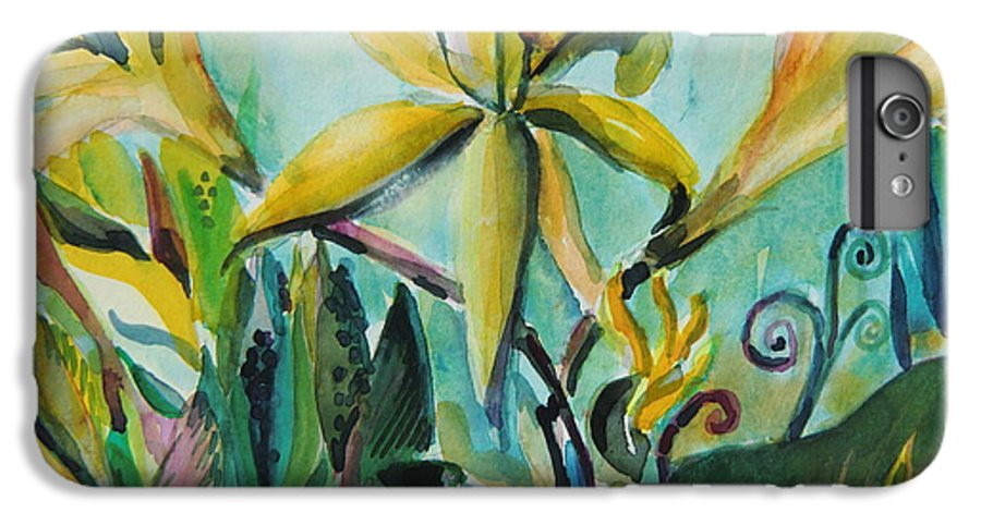 Lily IPhone 6 Plus Case featuring the painting Yellow Day Lilies by Mindy Newman
