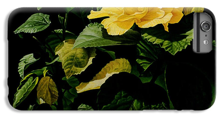 Floral IPhone 6 Plus Case featuring the painting Yellow Hibiscus by Gary Hernandez