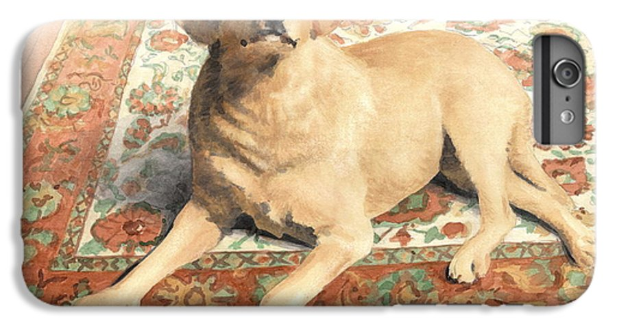 <a Href=http://miketheuer.com>miketheuer.com</a> Yellow Lab On A Rug Watercolor Portrait IPhone 6 Plus Case featuring the drawing Yellow Lab On A Rug Watercolor Portrait by Mike Theuer