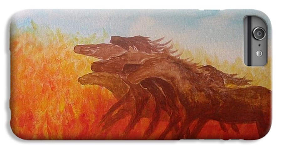 Horses IPhone 6 Plus Case featuring the painting You Shall Return No More To Egypt Deut 17 16 by Laurie Kidd