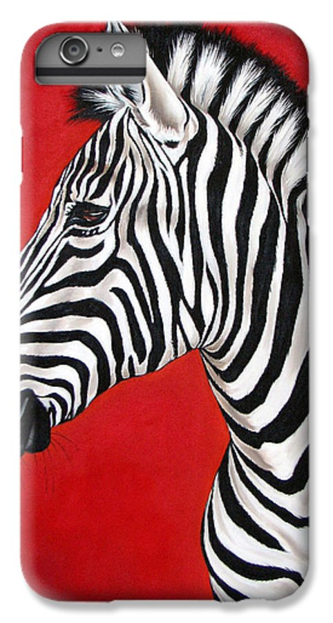 Zebra IPhone 6 Plus Case featuring the painting Zebra by Ilse Kleyn