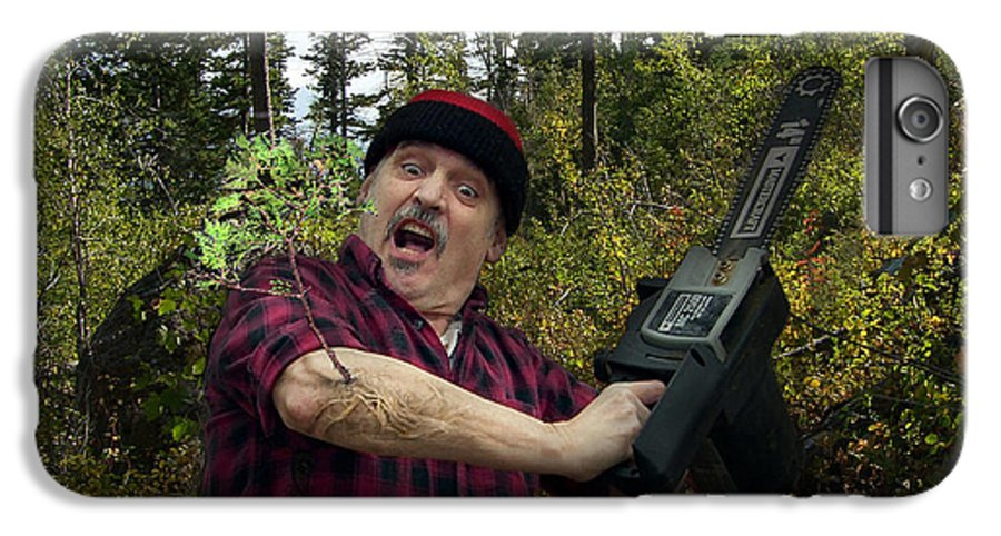 Surrealism Fantastic+realism Cloning Parasites Lumberjack Chainsaw Selfportrait IPhone 6 Plus Case featuring the digital art I Am A Lumberjack I Am Ok by Otto Rapp