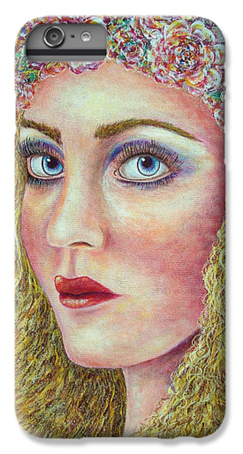Woman IPhone 6 Plus Case featuring the painting  The Flower Girl by Natalie Holland