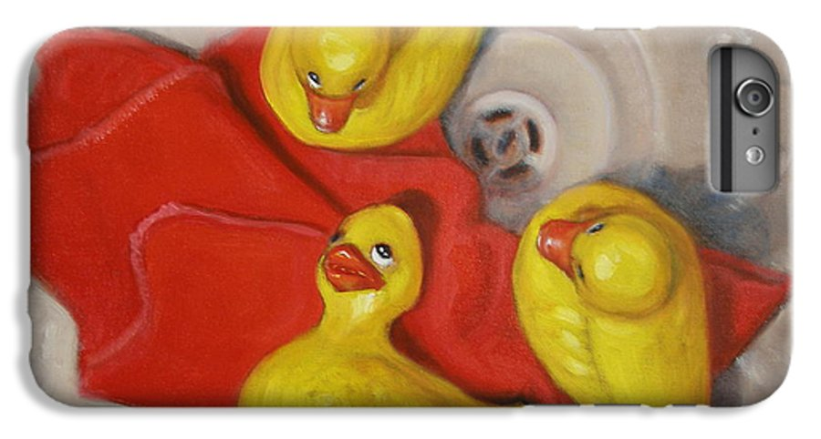 Realism IPhone 6 Plus Case featuring the painting Three Rubber Ducks #1 by Donelli DiMaria