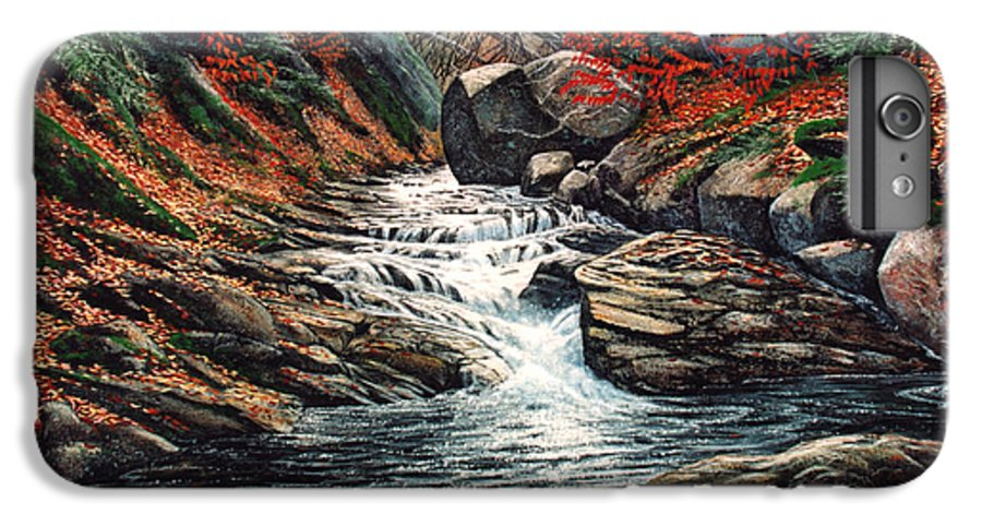 Landscape IPhone 6 Plus Case featuring the painting Autumn Brook by Frank Wilson