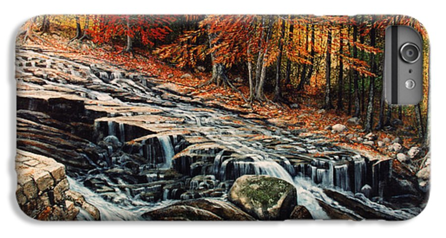 Landscape IPhone 6 Plus Case featuring the painting Autumn Cascade by Frank Wilson