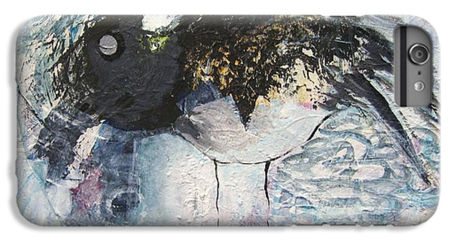 Robin Painting IPhone 6 Plus Case featuring the painting Baby Robin by Seon-Jeong Kim