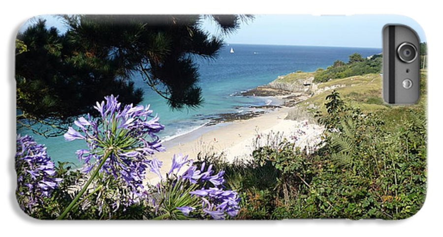 Coast Brittany Flowers Sea Ocean Bay Pines France IPhone 6 Plus Case featuring the photograph Bel-ile-en-mer by Lizzy Forrester