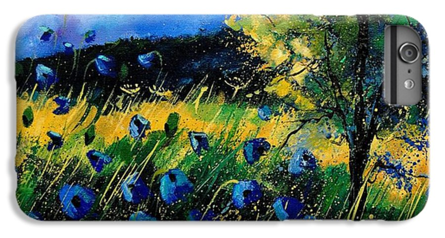 Poppies IPhone 6 Plus Case featuring the painting Blue Poppies by Pol Ledent