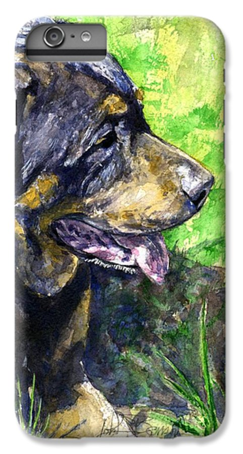 Rottweiler IPhone 6 Plus Case featuring the painting Chaos by John D Benson