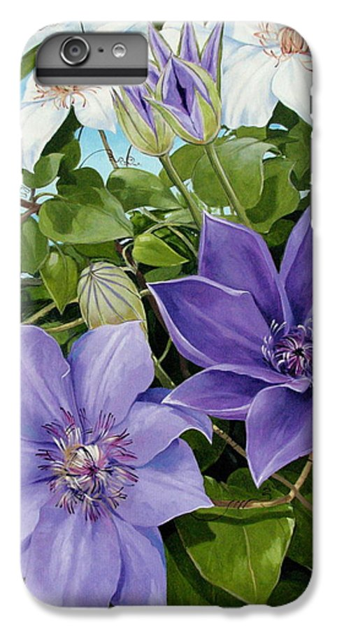 Clematis IPhone 6 Plus Case featuring the painting Clematis 2 by Jerrold Carton