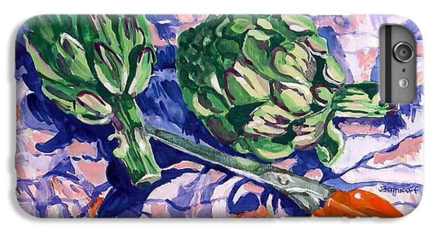 Greens IPhone 6 Plus Case featuring the painting Edible Flowers by Jan Bennicoff