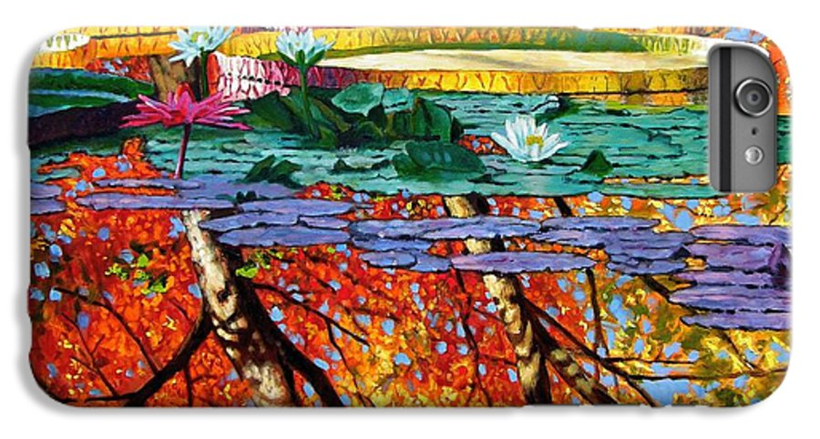 Water Lilies IPhone 6 Plus Case featuring the painting Fall Reflections by John Lautermilch
