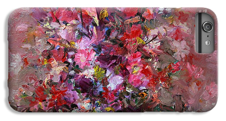 Pink Flowers IPhone 6 Plus Case featuring the painting Flowers by Mario Zampedroni