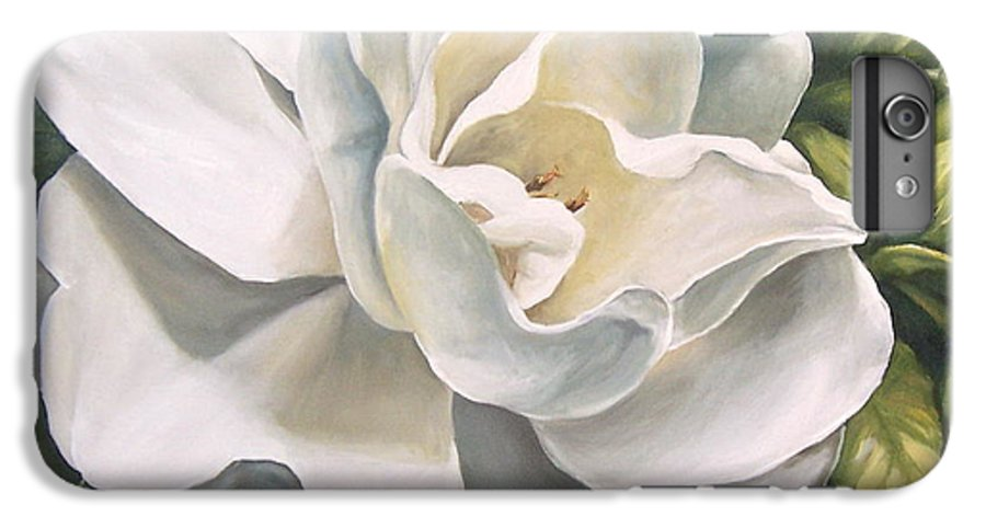 Flower IPhone 6 Plus Case featuring the painting Gardenia by Natalia Tejera