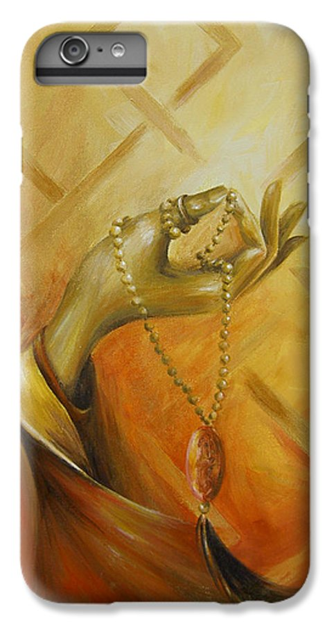 Yoga IPhone 6 Plus Case featuring the painting Gyan Mudra by Dina Dargo