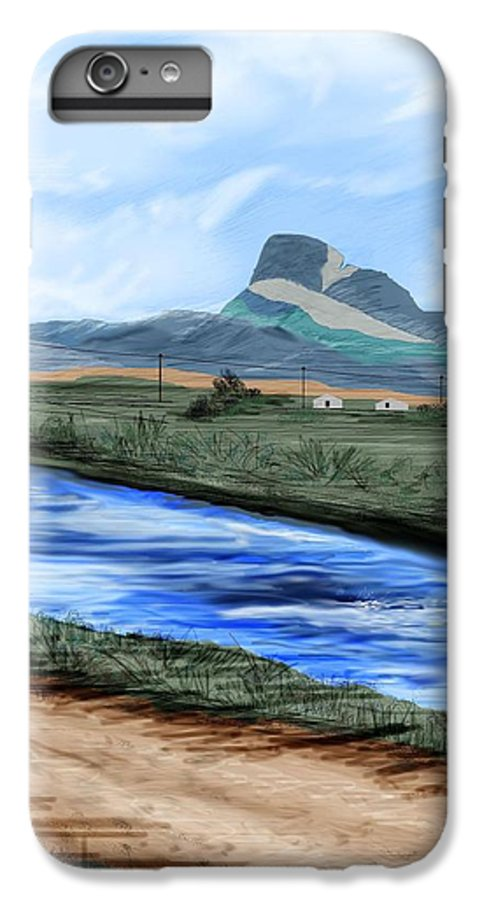 Heart Mountain IPhone 6 Plus Case featuring the painting Heart Mountain And The Canal by Anne Norskog