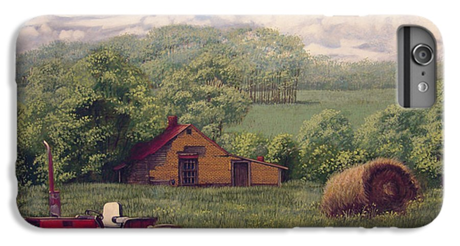 Landscape IPhone 6 Plus Case featuring the painting Idle In Godfrey Georgia by Peter Muzyka