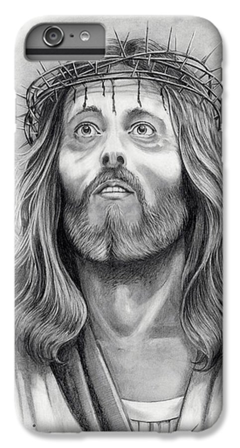 Jesus Christ IPhone 6 Plus Case featuring the drawing King Of Kings by Murphy Elliott