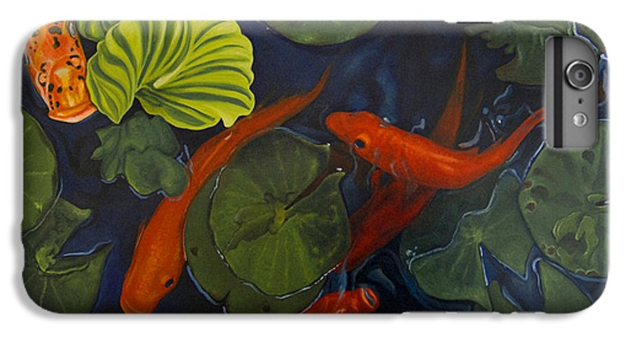 Painting IPhone 6 Plus Case featuring the painting Koi Ballet by Peter Muzyka